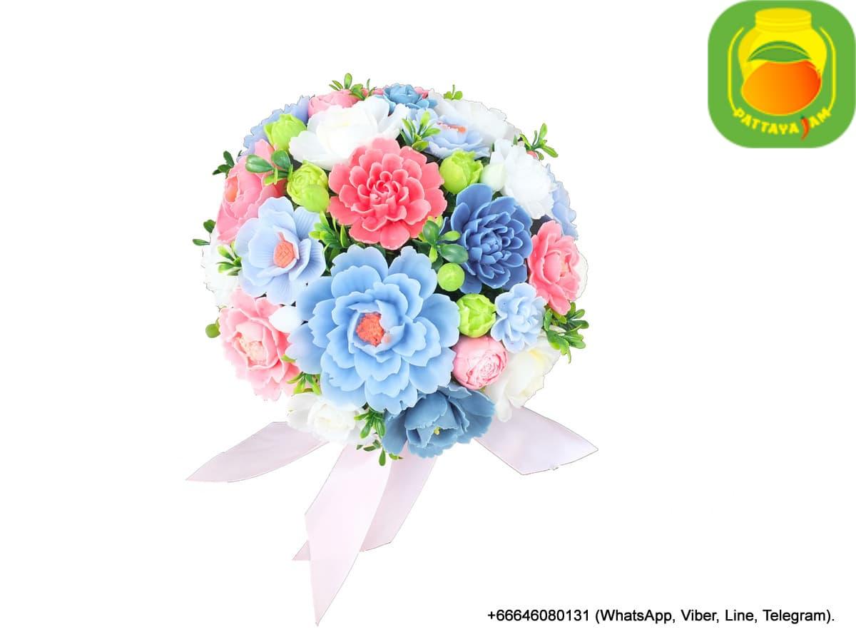 Букет из мыла ручной работы - пион, анемон, роза, хризантема. Таиланд. Композиция № 10.